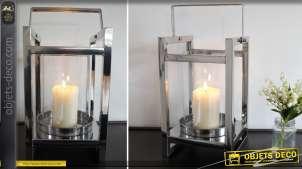 Lanterne design en métal argenté brillant poli 43 cm