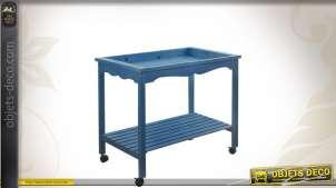 Table de présentation en bois patiné bleu