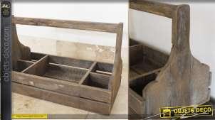Ancienne caisse en bois de transport à anse et à 5 casiers