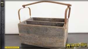 Caisse ancienne anse de transport en métal et 2 compartiments