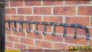 Long portemanteaux en fer forgé style rétro à 9 patères