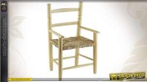 Chaise en hêtre naturel blanchi avec accotoirs pour enfant