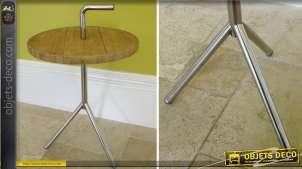 Table ronde de style industriel en bois massif et métal argenté