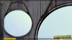 Grand miroir à suspendre rond métal vieilli et cordage ancien 52 cm