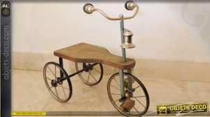 Grand tricyle à pédales en bois de style vintage 60 cm