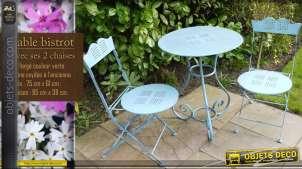 Table bistrot + 2 chaises en fer forgé bleu