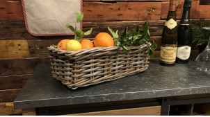 Jardinière solide en poelet finition gris avec doublure intérieure en pvc noir, rectangulaire, 40cm