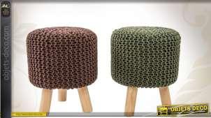 Duo de repose-pieds en bois et en coton à grosses mailles