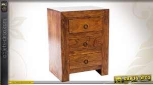 Table de nuit à trois tiroirs en sheesham massif