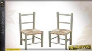 Duo de chaises en hêtre gris clair pour enfant