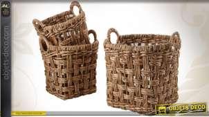 Série de 3 corbeilles de rangement en jacinthe avec anses