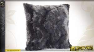 Coussin fourrure synthétique coloris gris anthracite 45 x 45 cm