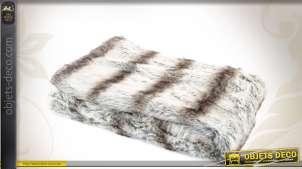 Grand plaid en fourrure synthétique coloris renard argenté 170 cm