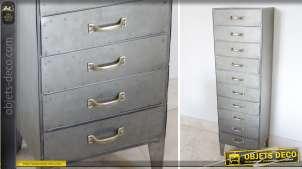 Chiffonnier à 10 tiroirs en métal de style industriel