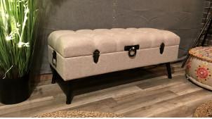 Banquette coffre bout de lit coloris lin écru assise capitonnée