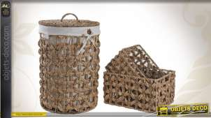 Ensemble panier à linge et corbeilles en jacinthe et coton