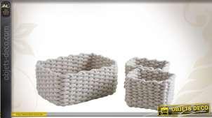 3 corbeilles de rangement décoratives en corde de coton