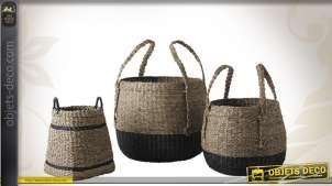Série de 3 corbeilles décoratives en jonc et corde