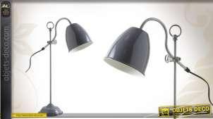 Lampe de bureau rétro en métal laqué gris