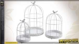 Série de 3 cages à oiseaux coloris blanc en métal