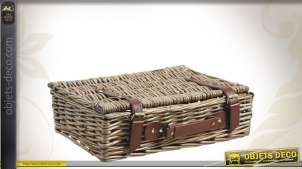 Valise décorative en osier vieilli avec poignée similicuir
