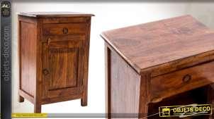 Table de chevet en bois de shesham avec porte et tiroir
