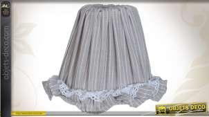 Abat-jour en coton naturel motifs rayures blanches