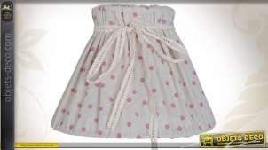 Abat-jour décoratif en coton motifs pois roses et ruban
