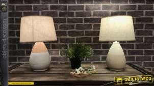 Duo de lampes de table déco en céramique, finition claire et effet bois, 41cm