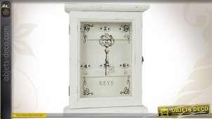 Armoire à clefs patinée blanc vieilli avec porte vitrée