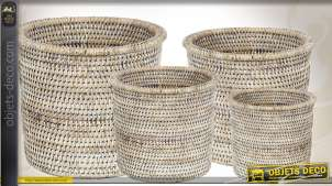 Série de 4 cache-pots en rotin blanc de forme ronde