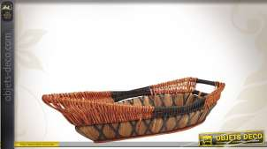 Corbeille en bois, osier et corde en forme de bateau