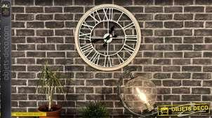 Horloge murale en bois et métal, de style moderne finition blanc et naturel 60cm