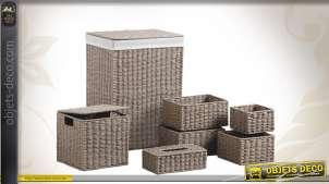 Set de 7 accessoires de rangement en papier cordé taupe et en métal