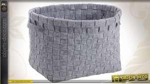 Série de 3 corbeilles de rangement en feutrine coloris gris