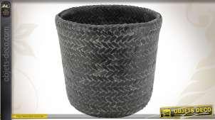 Série de 5 cache-pots décoratifs en bambou painé noir