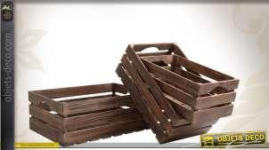 Ensemble de 3 caisses en bois en claire-voie de style vintage