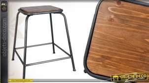 Tabouret d'atelier en bois et en métal de style vintage
