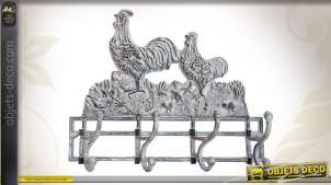 Porte-manteaux motifs coq et poule en métal vieilli et blanchi