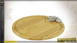Planche à découper ronde en bois motifs raisin argenté