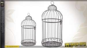 Duo de cages à oiseaux décoratives finition ancienne
