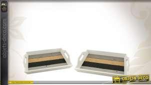 Série de 2 plateaux en bois de style vintage coloris vieillis
