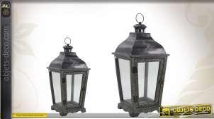 Duo de lanternes vintages en bois, verre et métal, motif libellule