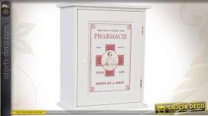 Placard à pharmacie en bois coloris blanc et rouge