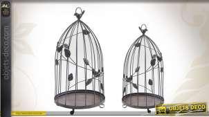 Duo de cages à oiseaux déco en métal vieilli