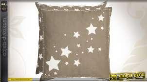 Housse de coussin déco motifs étoiles coloris gris et blanc