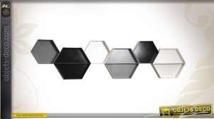 Série de 6 étagères en bois façon nid d'abeilles