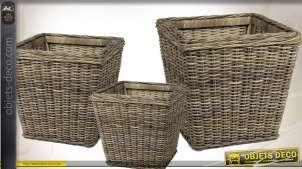 Trio de cache-pots carrés en poelet gris