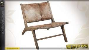 Fauteuil rustique en bois et peau de chèvre naturelle