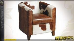 Fauteuil club marron et blanc en cuir et peau de vache